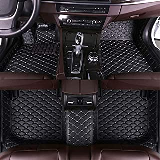 8X-SPEED Custom Car Floor Mats Fit for VW Scirocco 2009-2017 Full Coverage All Weather Protection Waterproof Non-Slip Leather Liner Set Black with Beige Line