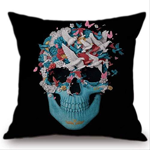 QIANGST Zwart Blauw kussensloop Plain Painting Decoratieve hoofddecoratie Decoratieve kussensloop auto bank stoel kussensloop