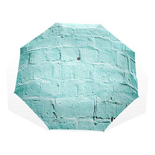 LASINSU Regenschirm,Backstein alte Wand Hintergrund in lebendigen Tönen Architektur Urban Building Artsy Bild,Faltbar Kompakt Sonnenschirm UV Schutz Winddicht Regenschirm