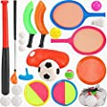7 in 1 Outdoor Sports Games Combo Multipack Set | Baseball, Golf, Soccer, Badminton, Scoop Ball, Paddle Toss and Catch Ball, Flying Disc | Outdoor Play Toys for Kids by Liberty Imports