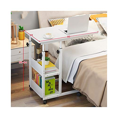 ALBBMY Adjustable Overbed Table Overbed Table With Wheels Adjustable Over Bed Table laptop cart (Color : 80 * 40White)