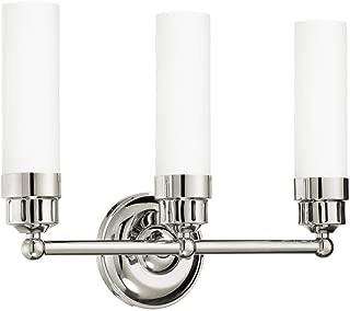 Langdon Mills 10214 Notting 3-Light Bathroom Vanity Light, Polished Nickel