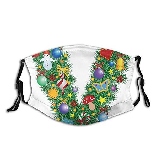 Ornament Christmas Tree Design Capitalized V Festive Elements Bells Candies Print,Face Mask Reusable Washable Masks Cloth for Men and Women