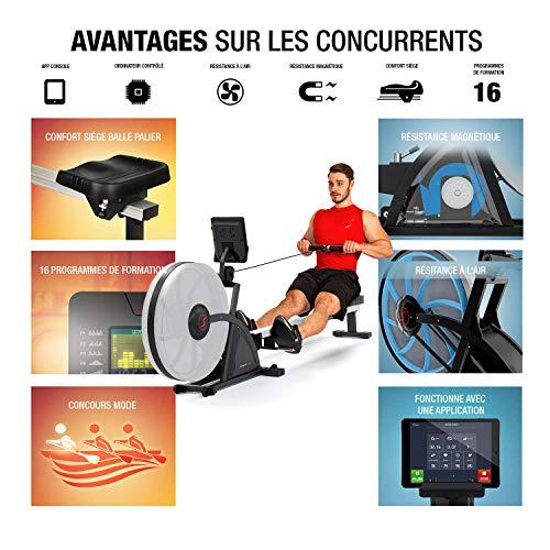 Sportstech Rameur à Eau de qualité, Fonction de Pliage brevetée + App + Multiplayer & Video...