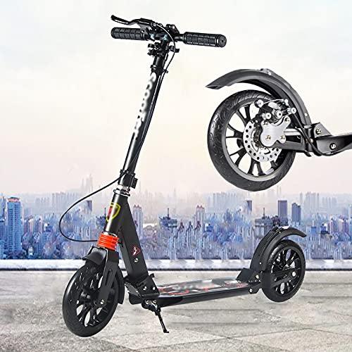 Patinete Scooter con Ruedas Grandes Scooter Urbano para Niños Adultos, 3 Niveles De Altura Ajustable Patinete De 2 Ruedas, Mecanismo De Absorción De Impactos - Freno Doble - Negro