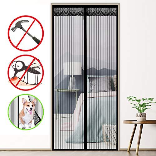 LinStyle Mosquitera Magnética para Puertas, cortina de malla con 32 Piezas Imanes, Adsorción magnética Plegable, Fácil de Instalar - Negro (90 x 210 cm)