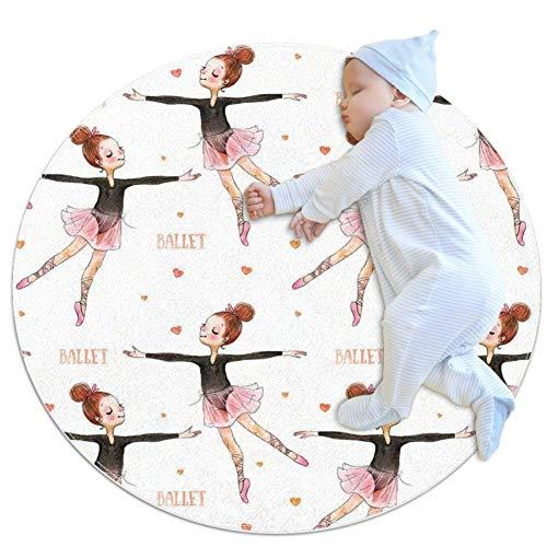 Aquarell Ballerina Baby Krabbelunterlage für Jungen und Mädchen - Spieldecke Boden Teppich Kinderzimmer Dekoration 80 x 80 cm