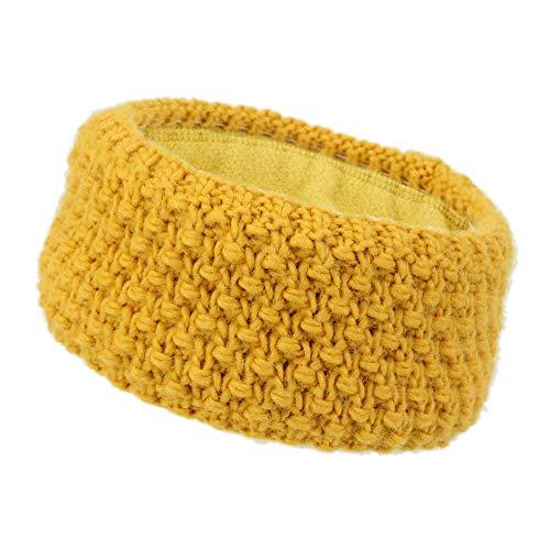irisaa Stirnband Damen elastisches Haarband gefüttertes Mädchen Ohrwärmer gestricktes Kopfband Grobstrick mit Fleece Innenfutter, stirnband farbe:Gelb