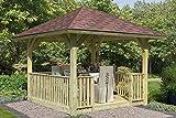 Unbekannt Karibu 4-Eck Pavillon Classic Bergen 1 mit Brüstung und Fußboden Set kdi