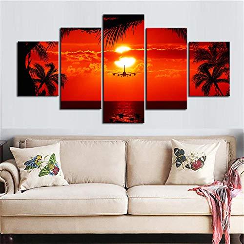 Afdrukken Op Canvas Kunstdruk Op Canvas Hd-Afbeeldingen Frameloze Vliegtuig Zonsondergang Landschap Schilderij Huis Wanddecoratie Schilderij Canvas Olieverfschilderij