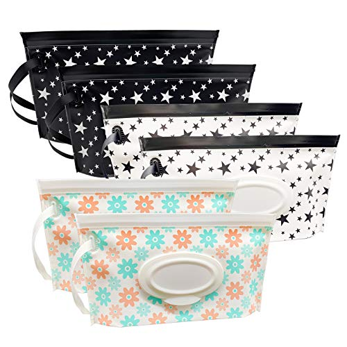 ULVBABI Baby Wet Wipe Pouch Container, Reusable & Refillable Portable Wipes Dispenser, Eco Friendly and Lightweight Baby Travel Wet Wipe Holder, Keeps Wet Wipes Moist (6 Pack)