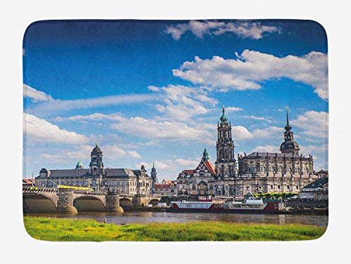 MSGDF Cityscape Bath Mat, Ancient Town Dresden Old German Architecture Historical European Scenery Image, Plush Bathroom Decor Mat with Non Slip Backing, 23.6 W X 15.7 W Inches, Grey Blue