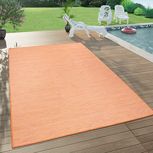 Paco Home In- & Outdoor-Teppich Für Wohnzimmer, Balkon, Terrasse, Flachgewebe Terracotta, Grösse:120x160 cm