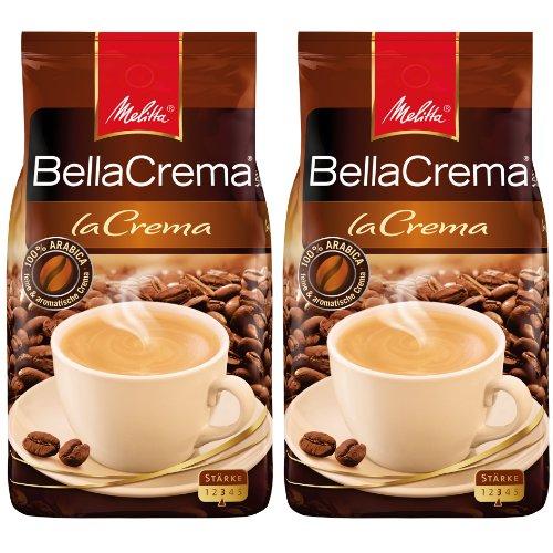Melitta Kaffee BellaCrema LaCrema ganze Bohne, mittelstarke Kaffeebohnen, 2er Pack, 2 x 1000g