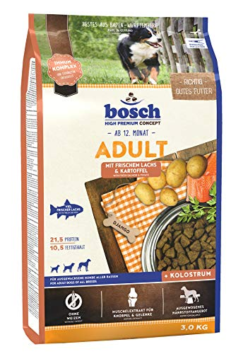 bosch HPC Adult mit frischem Lachs & Kartoffel | Hundetrockenfutter für ausgewachsene Hunde aller Rassen | 1 x 3 kg