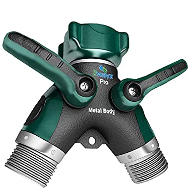 2wayz All Metal Body Garden Hose Splitter. 2020 Version - 100% Secured, Bolted & Threaded. Easy Grip, Smooth Long Handles y Valve