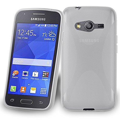 Cadorabo Custodia compatibile con Samsung Galaxy ACE 4 Custodia a mezza trasparenza in silicone TPU flessibile nella custodia X-Line