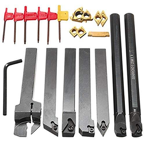 FEVERWORK EsportsMJJ 7pcs 12mm Schaftdrehmaschine Bohrstange Drehen Werkzeughalter Set mit Hartmetall-Einsätze