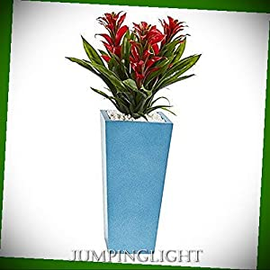"""JumpingLight Triple Bromeliad in Turquoise Tower Vase, 26"""", Red Artificial Flowers Wedding Party Centerpieces Arrangements Bouquets Supplies"""