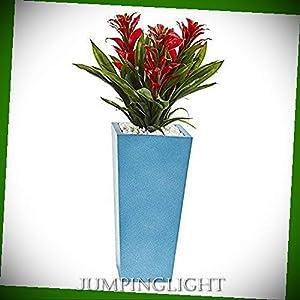 Silk Flower Arrangements JumpingLight Triple Bromeliad in Turquoise Tower Vase, 26'', Red Artificial Flowers Wedding Party Centerpieces Arrangements Bouquets Supplies