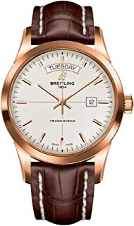 Solid Rose Gold Breitling Transocean Day Date Mens Watch