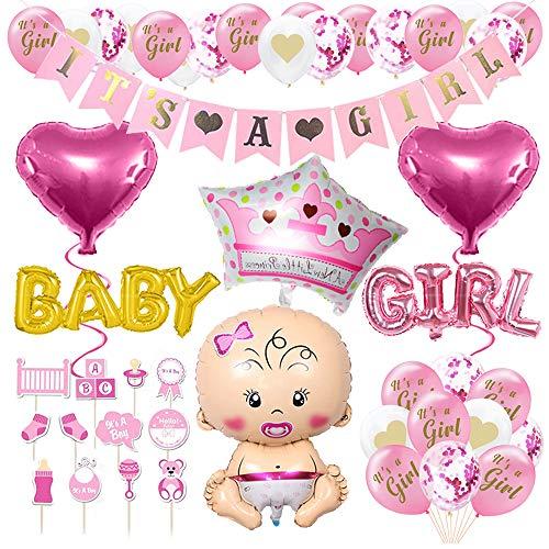 AiYoYo 40 Teile Babyparty Deko Mädchen Set Baby Shower für Mädchen Baby Shower Dekoration Girlande - It's A Girl Girlande, Luftballons, Fotobox,Geschenk - Rosa