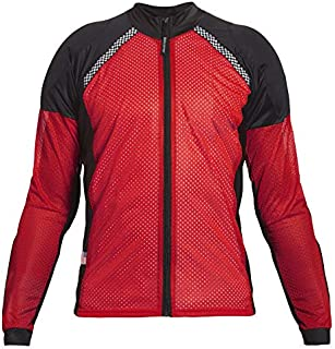 Bohn All-Season Airtex Armored Riding Shirt - Red/Black - Medium