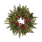 CHUXI 2021 Navidad corona roja fruta simulación plástico corona colgante de pared decoración de Navidad puerta colgante con luces