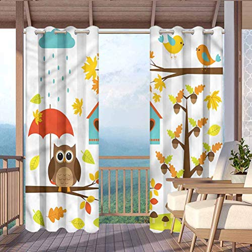 """Kids Outdoor Printed Curtains for Thermal Insulated Privacy Protected Owl Nests Autumn Season Tree 108"""" W x 84"""" L"""