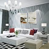 Papel Pintado, 3D flocado en Relieve No Tejido Rollo de Papel Pintado para Decoración de Cocina Superficie de Muebles Sala de Estar Dormitorio Puerta, 0,53 × 10 m (gris plateado)