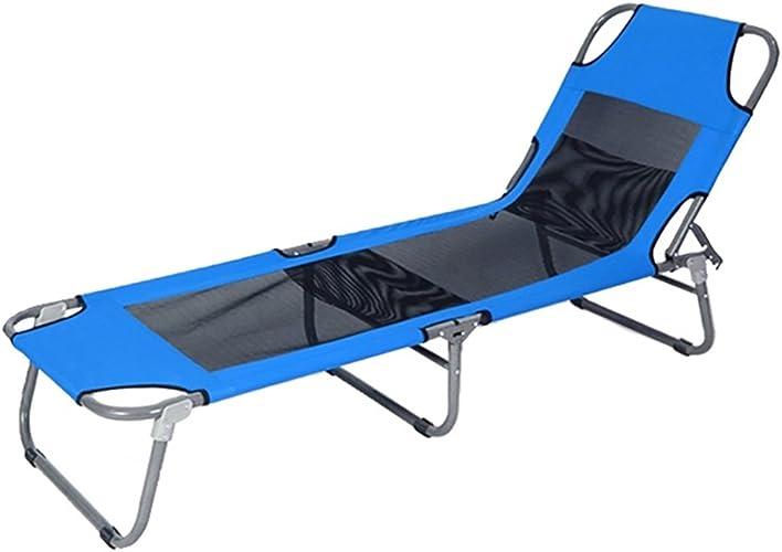 D_HOME Chaise Longue Simple Lit Pliant Bureau Siesta Lit Extérieur Léger Portable Plage Lit Recliners Rouge Bleu (Couleur   Bleu, Taille   Style 2)
