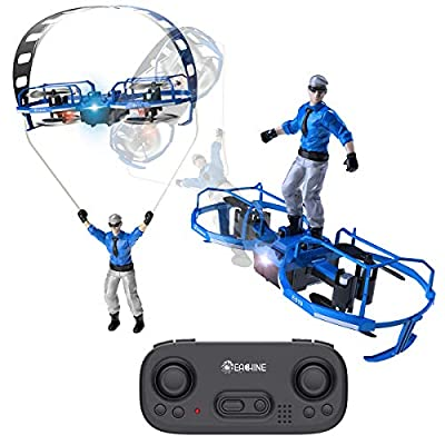 EACHINE Mini quadcopter drone for Kids and Adults Altitude Hold, E019 RC Quadcopter Drone with Stunt Paraglider Hoverboard Drone Toy (Blue)