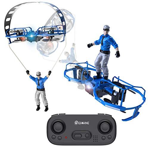 EACHINE Mini Quadcopter Drone para Niños y Adultos Principantes E019 RC Drone de 2 Ejes Modo Parapente Modo Paracaídas Drone Control de Altitud LED 6Giro 3 Velocidades 2.4GHZ 4CH Drone(Azul)