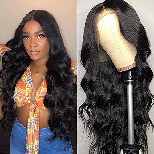 Muokass T-Part Lace Closure Wigs Body Wave Brazilian Virgin Human Hair Wigs For Black Women 4X1 HD Lace Front Wigs Human Hair 150% Density Pre Plucked Natural Color(20 Inch, Natural Color)