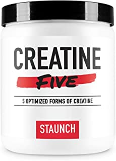Staunch Creatine Five Creatine Powder (Unflavored) 50 Servings - Creatine Monohydrate, MagnaPower, Tri-Creatine Malate, Cr...