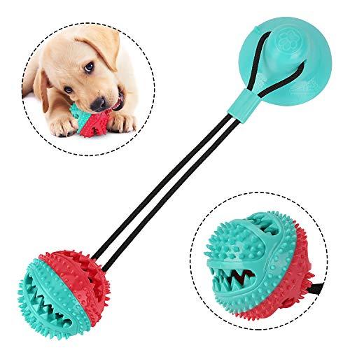 Redmoo Hundespielzeug Mit Saugnapf, Multifunktionale Pet Spielzeug Molar Kauspielzeug, Mega Schlepper Hundespielzeug Gummiball Spielzeughund Interaktiver ZäHne Reinigen für Hunde und Katzen (Blau-Rot)