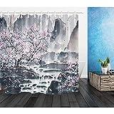 ZYJCC Duschvorhang Landschaftsmalerei Pflaume Blume Duschvorhang Badezimmer Polyester Stoff Wohnaccessoires