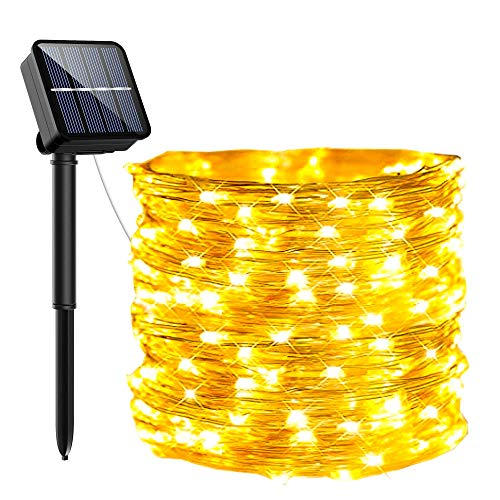Guirnaldas Luces Exterior Solar, PVC Led Solares Exteriores Jardin 120 LED Y 8 Modos Cadena de Luces Ip65-Impermeabile para Navidad, Fiestas, Patio, Jardines, Festivales[1 Pack]