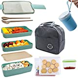 Koccido Bento Box Lunch Box Kit,Japanese Lunch Box 3-In-1 Compartment,Stackable Lunch Box Leakproof Lunch Container,Wheat Straw Bento Lunch Box for Kids and Adults