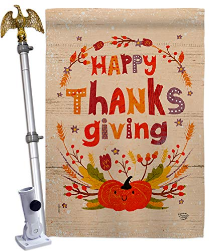 Ornament Collection Thanks House Flag Eagle Set Fall Thanksgiving Turkey Give Gobble Pumpkin Season Autumntime Cornucopia Decoration Banner Small Garden Yard Gift Double-Sided, Made in USA