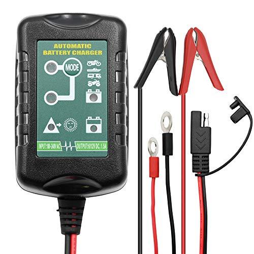 6V 12V 1,5A Batterieladegerät Automatisches Erhaltungsladegerät für Batteriewartungsgeräte 4 Stufen für Auto-Motorrad Rasenmäher Boot Motorrad Schneemobil