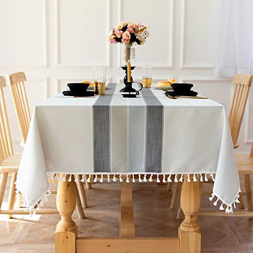 Deggodech Elegantes Mantel de Mesa Rectangular Antimanchas Lavable Mantel de Lino de Algodón de Borlas Manteles Mesa de Tela para Decoración de la Mesa de Comedor (Estilo Gris, 140 * 180cm)