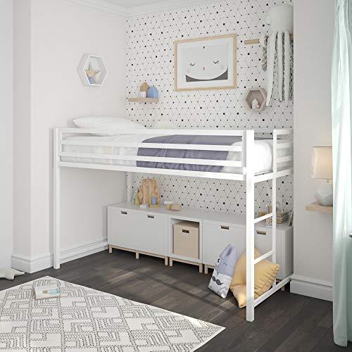 DHP Miles Metal Junior Twin Loft Bed, White