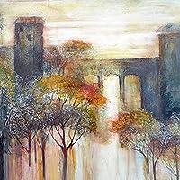 木々と湖の風景キャンバス絵画インテリア風景ポスターとプリント抽象的な壁アートパネル写真ヴィンテージリビングルーム家の装飾70x70cmフレームなし