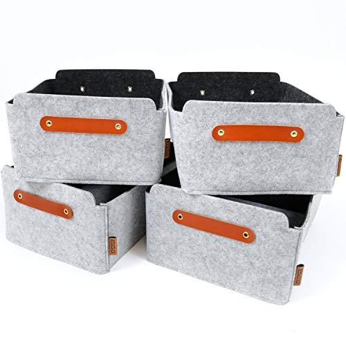 Miqio® Design Aufbewahrungsbox aus Filz mit Ledergriff | hochwertiger Korb aus Filz | Filzbox mit Echtleder Elementen | hellgrau | Filzkorb 4er Set