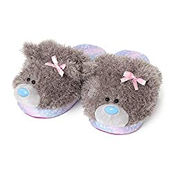 Official Me to You Grey Slippers Slippers are one size (women's 5 - 6) Slip on design with super fluffy Tatty Teddy bear head design Cushioned foot-bed comfortably fits around your feet keeping them nice & warm with a soft grip fabric sole A lovely g...