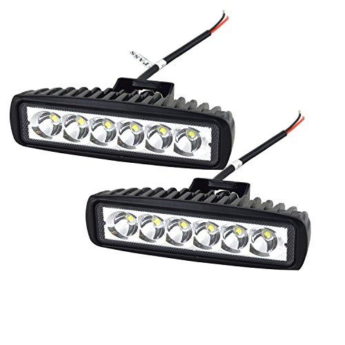 AUXTINGS Barra de luces 2 piezas 15 cm 18W LED Luz de trabajo campo a través del reflector Proyector reflector de faro 1200LM IP67 Negro fundido de aluminio