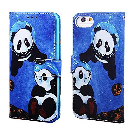 Nadoli Leder Hülle für iPhone SE 2020,Bunt Sei Panda Malerei Ultra Dünne Magnetverschluss Standfunktion Handyhülle Tasche Brieftasche Etui Schutzhülle