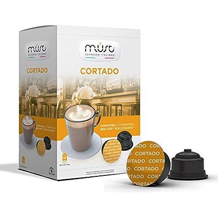 MUST 96 Capsules de Café Auto Protégées en Plastique 100% Recyclable, Mélange Cortado Semblable au Cappuccino Pack de 16 Capsules Compatibles avec la Machine Dolce Gusto, Made in Italy
