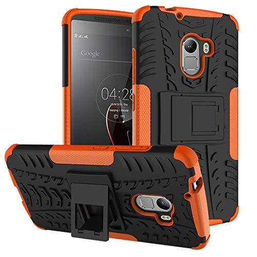 TiHen Handyhülle für Lenovo K4 Note/A7010/X3 lite Hülle, 360 Grad Ganzkörper Schutzhülle + Panzerglas Schutzfolie 2 Stück Stoßfest zhülle Handys Tasche Bumper Hülle Cover Skin mit Ständer -Orange